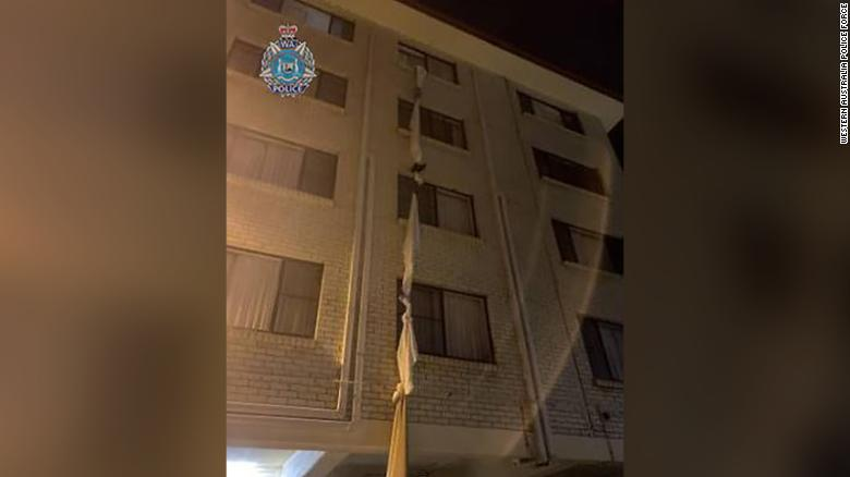 Australian man escaped mandatory quarantine in a hotel room by using a rope made of tied together bedsheets from a fourth-floor window.
